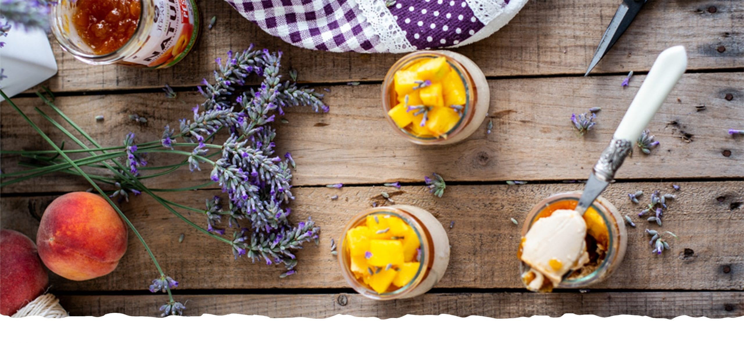 Lavender Panacotta with Peach Jam