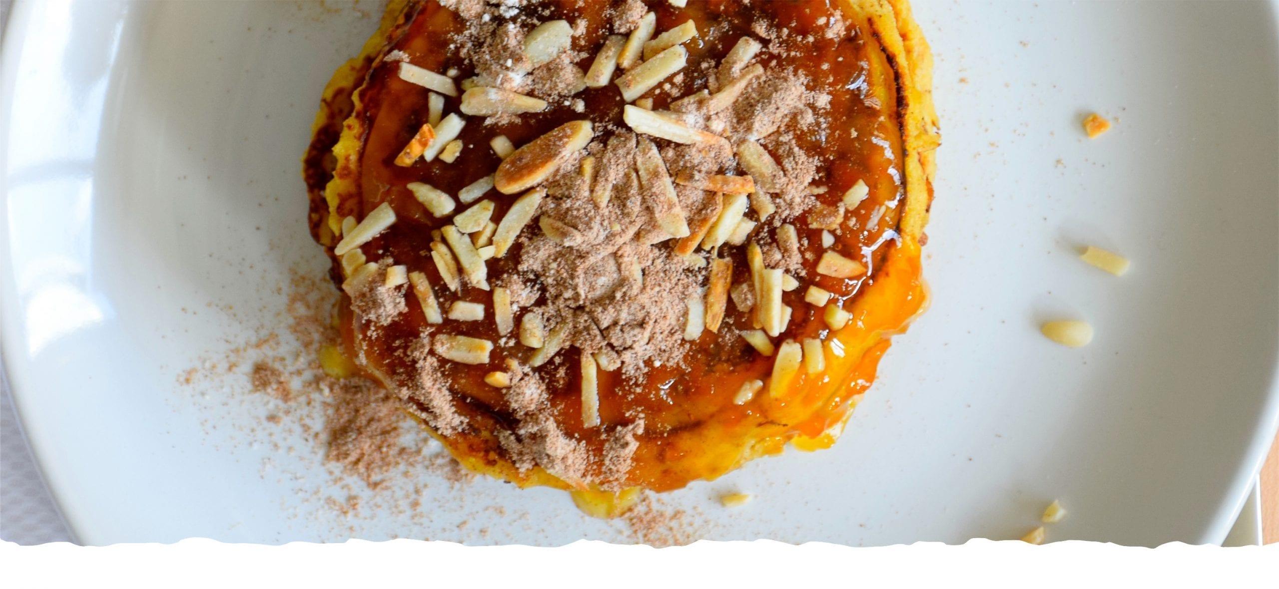 Pumpkin Pancakes with Pumpkin and Almonds Jam