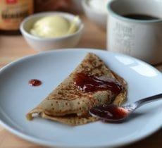 Pancakes with Teff Flour and Strawberry Jam