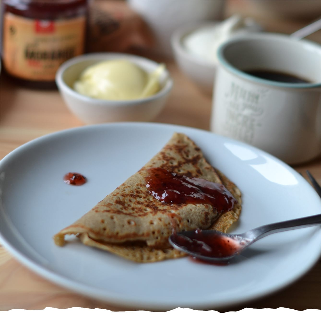 Pancakes with Teff Flour and Strawberry Jam Mobile