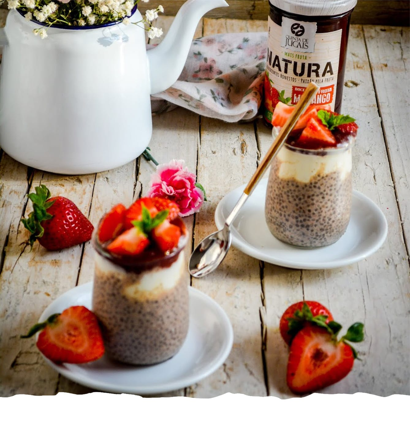 Chia, Cinnamon and Strawberry Pudding Mobile