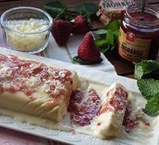 White Chocolate Semiffredo with Strawberry and Mint Jam