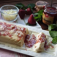 White Chocolate Semiffredo with Strawberry and Mint Jam 1